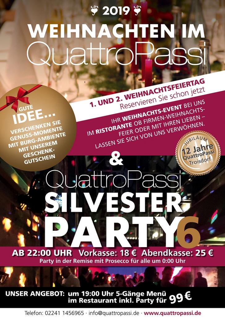 Weihnachten und Silvester 2019 imRestaurant QuattroPassi